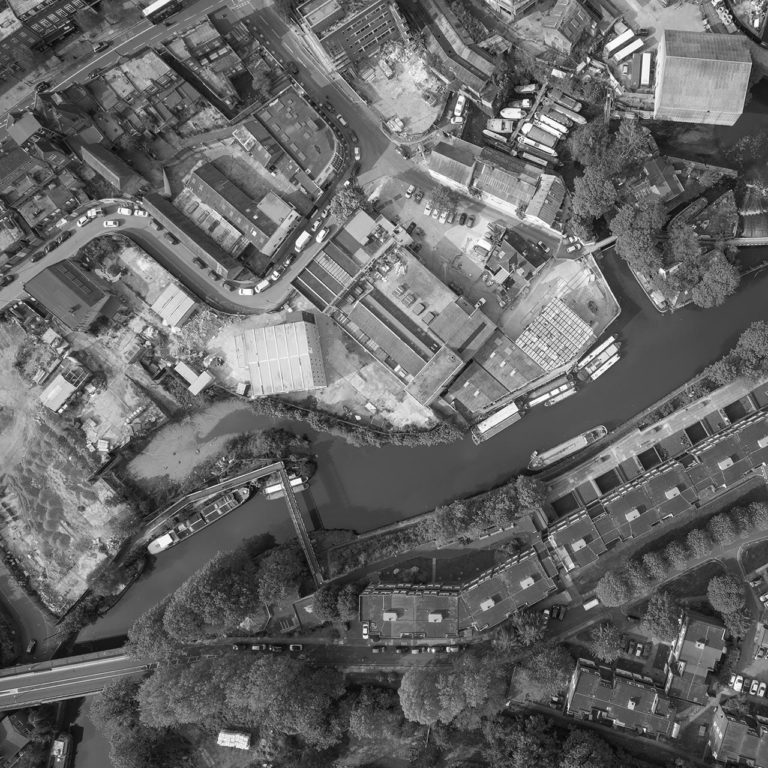 Aerial view of The Brentford Project development site and canal