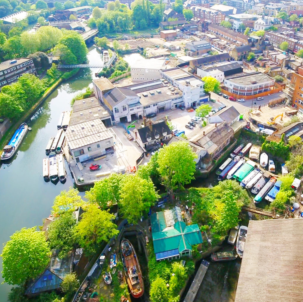 Aerial view of Brentford development site and canal